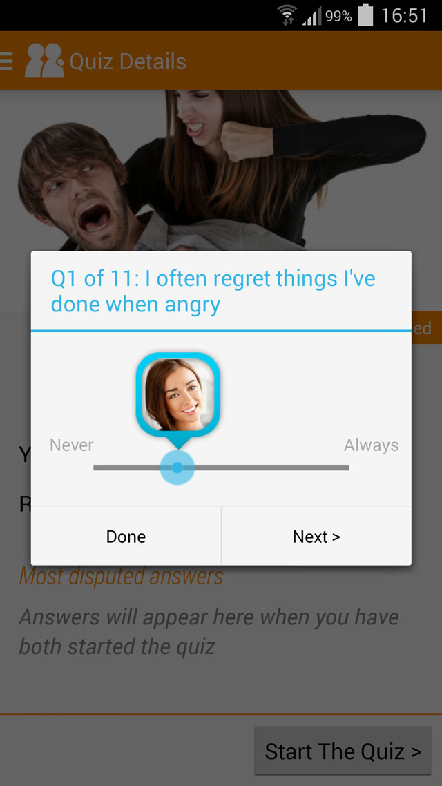 a quiz question on anger